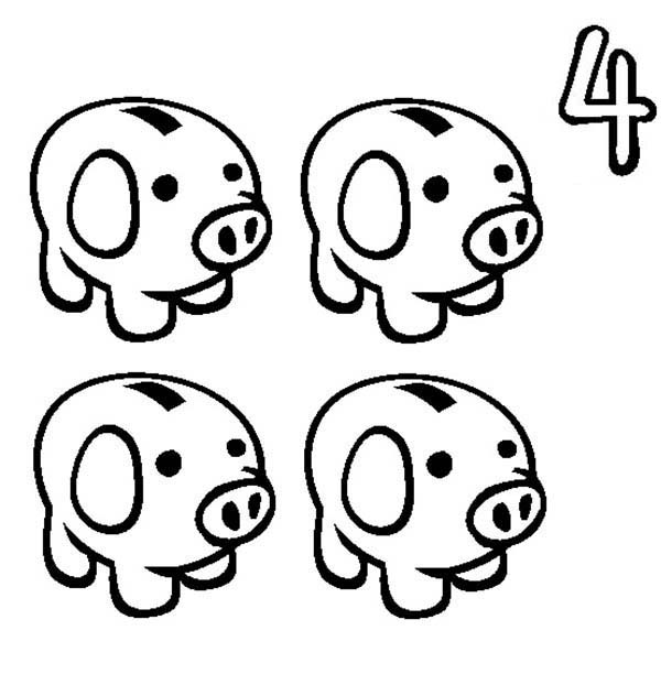 Number 4, : Learn Number 4 with Four Piggy Banks Coloring Page