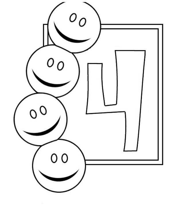 Number 4, : Learn Number 4 with Four Smiley Faces Coloring Page