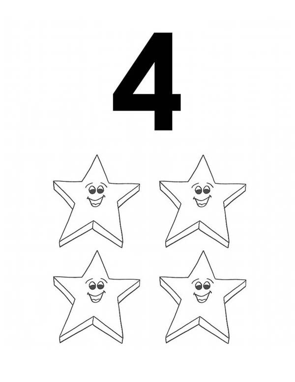 Number 4, : Learn Number 4 with Four Stars Coloring Page