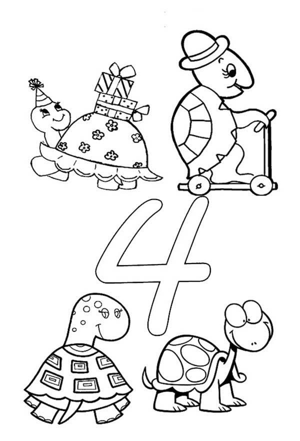 Number 4, : Learn Number 4 with Four Turtles Coloring Page