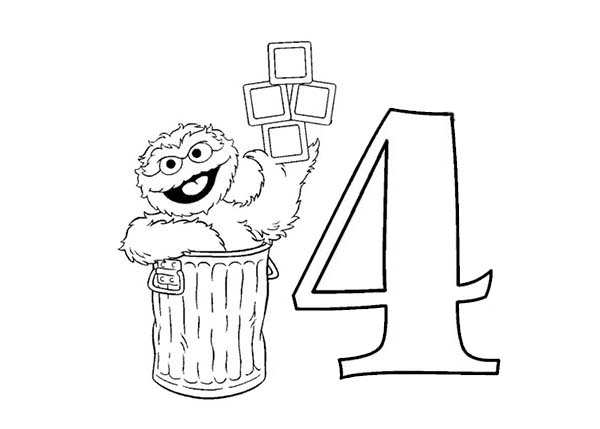 Number 4, : Learn Number 4 with Sesame Street Coloring Page