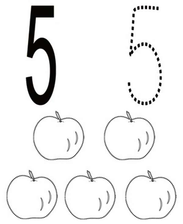 Number 5, : Learn Number 5 with Five Apples Coloring Page