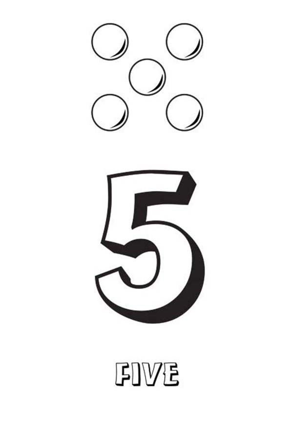 Number 5, : Learn Number 5 with Five Balls Coloring Page
