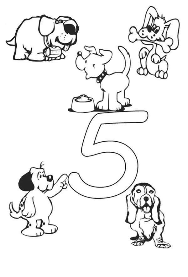 Number 5, : Learn Number 5 with Five Dogs Coloring Page