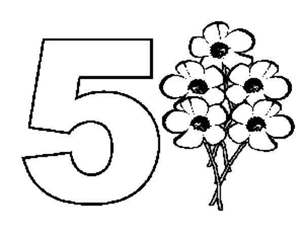 Number 5, : Learn Number 5 with Five Flowers Coloring Page