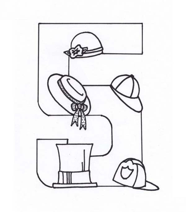 Number 5, : Learn Number 5 with Five Hats Coloring Page