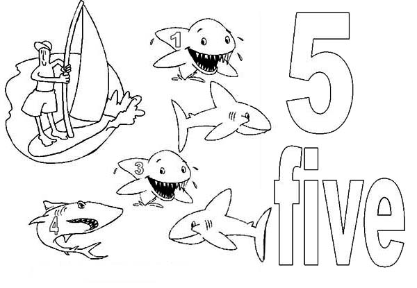 Number 5, : Learn Number 5 with Five Sharks Coloring Page