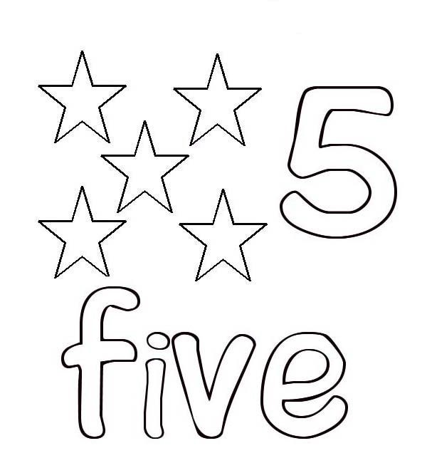Number 5, : Learn Number 5 with Five Stars Coloring Page