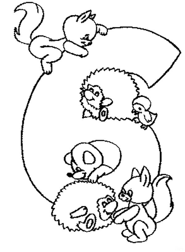 Number 6, : Learn Number 6 with Six Animals Coloring Page