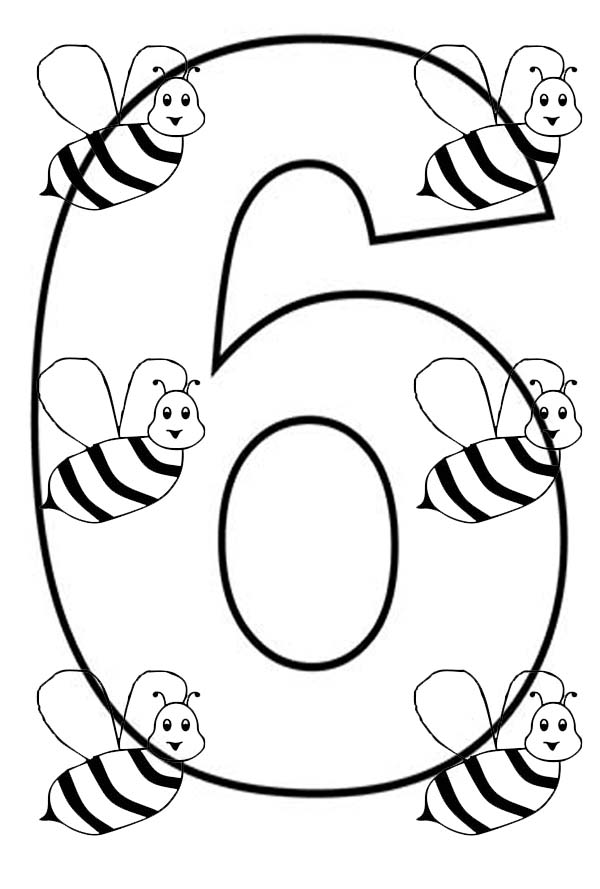 Number 6, : Learn Number 6 with Six Bees Coloring Page