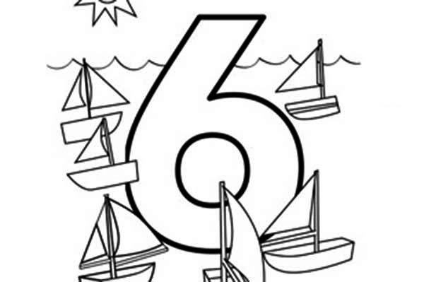 Number 6, : Learn Number 6 with Six Boat Coloring Page