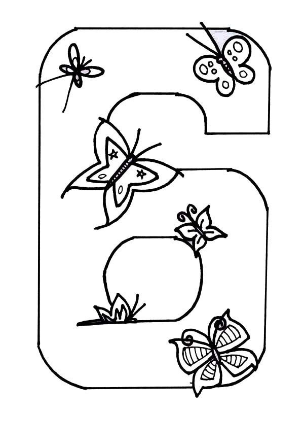 Number 6, : Learn Number 6 with Six Butterflies Coloring Page