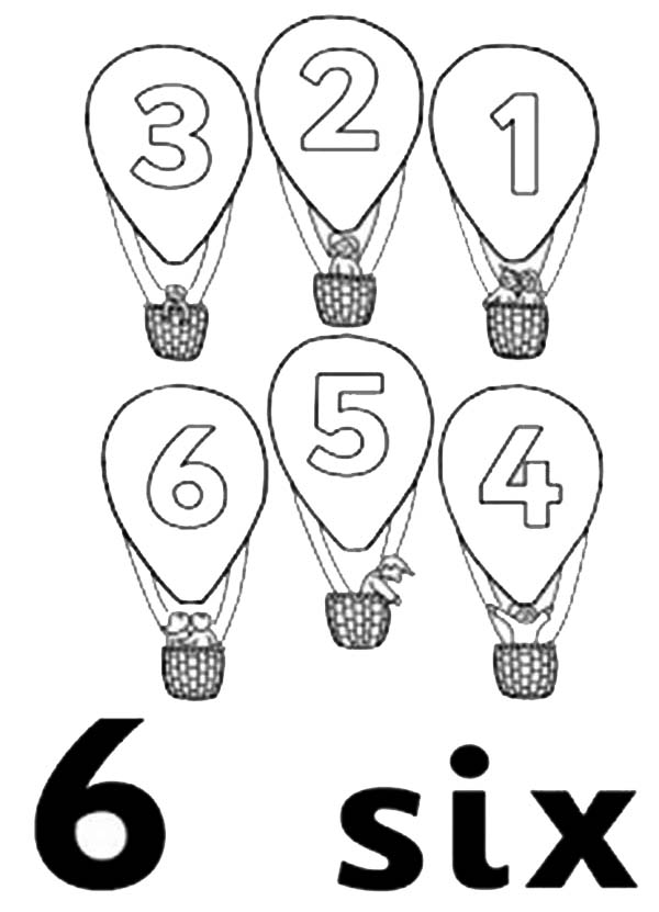 Number 6, : Learn Number 6 with Six Hot Air Balloons Coloring Page