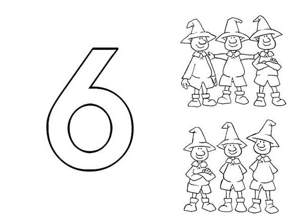 Number 6, : Learn Number 6 with Six Men Coloring Page