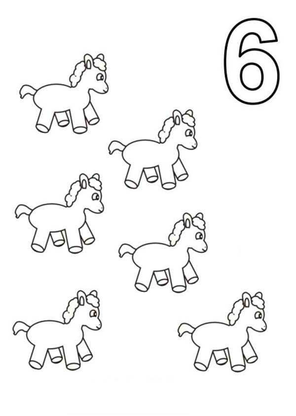 Number 6, : Learn Number 6 with Six Pony Horses Coloring Page