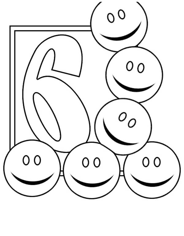 Number 6, : Learn Number 6 with Six Smiley Faces Coloring Page