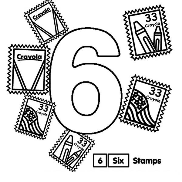 Number 6, : Learn Number 6 with Six Stamps Coloring Page