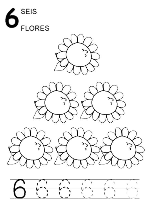 Number 6, : Learn Number 6 with Six Sunflowers Coloring Page