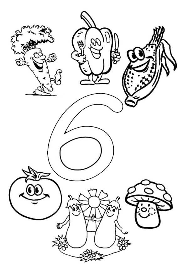 Number 6, : Learn Number 6 with Six Vegetables Coloring Page