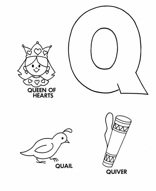 Letter Q, : Learn Upper Case Letter Q Coloring Page