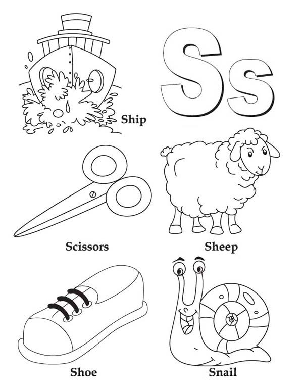 Letter S, : Learn Upper and Lower Case of Letter S Coloring Page