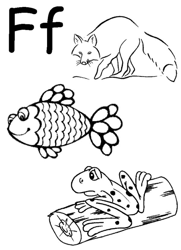 Letter F, : Learn Words from Letter F Coloring Page