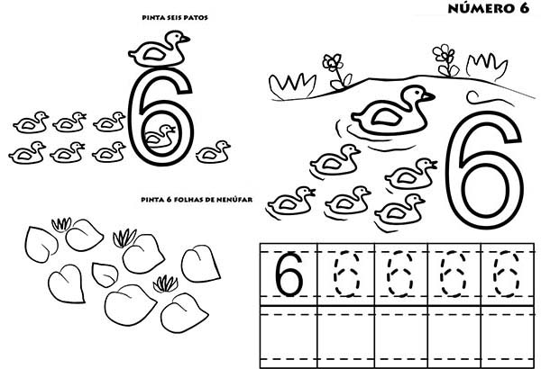 Number 6, : Learn to Count Number 6 Coloring Page