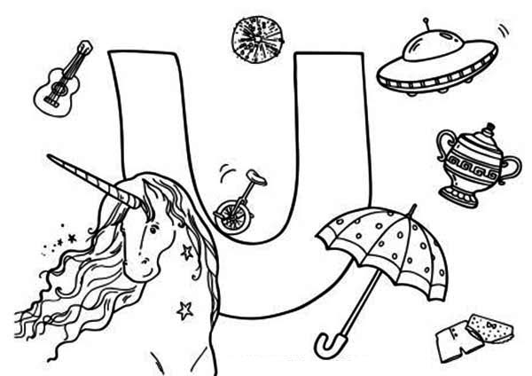 Letter U, : Learning Alphabet Letter U for Kids Coloring Page