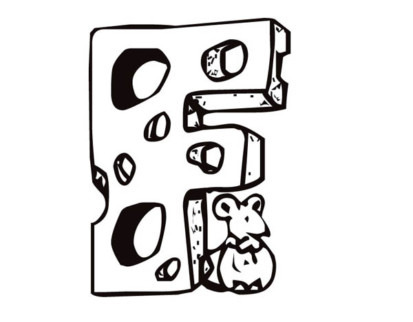 Letter F, : Learning Letter F Cheese Coloring Page