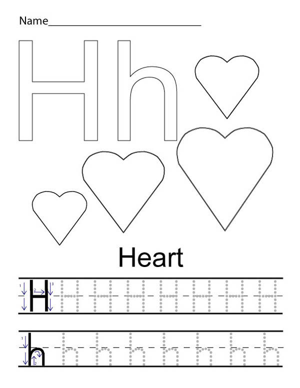 Letter H, : Learning Letter H for Heart Coloring Page