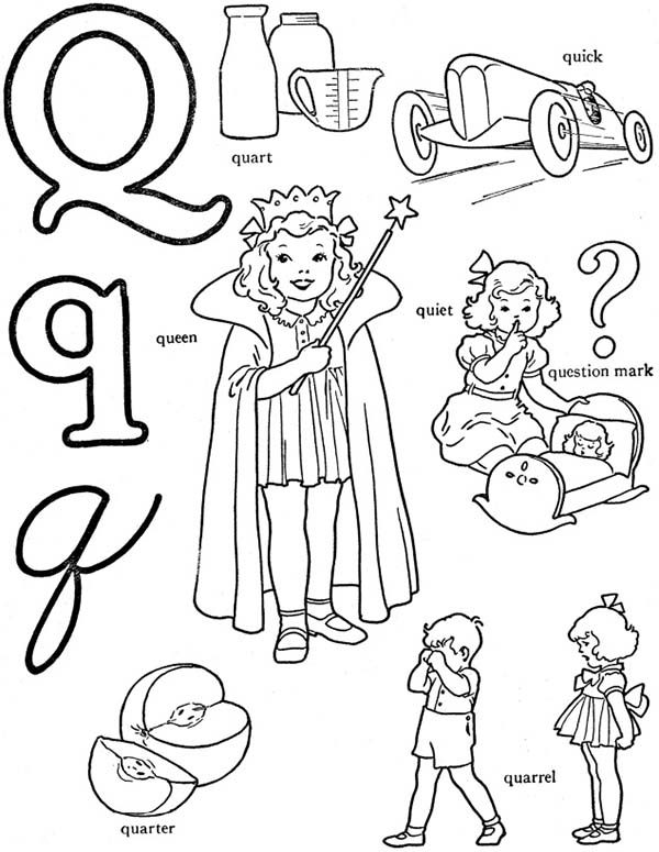 Letter Q, : Learning Letter Q Coloring Page for Preschool Kids