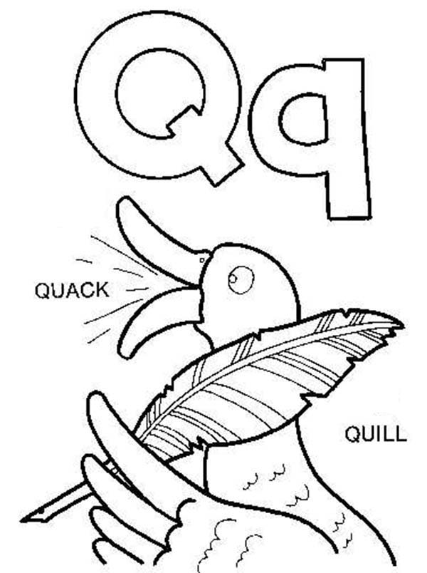 Letter Q, : Learning Letter Q for Kids Coloring Page