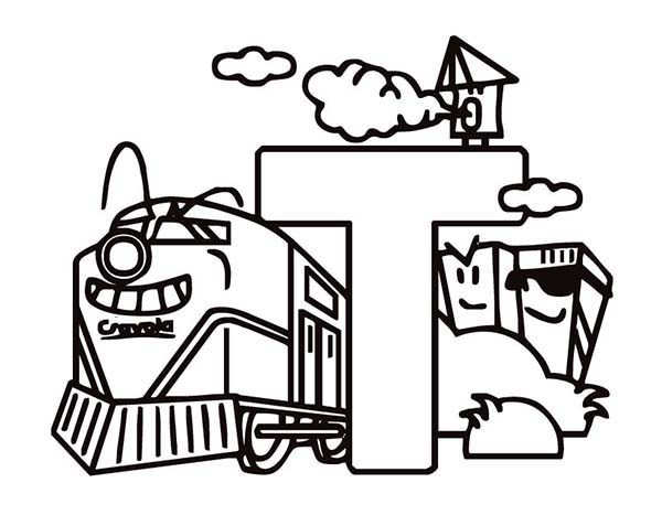 Letter T, : Learning Letter T Coloring Page
