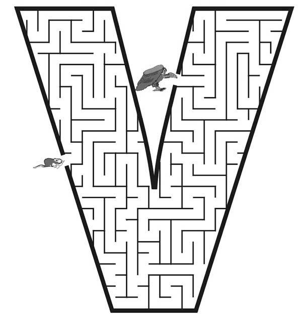 Letter V, : Learning Letter V Maze Coloring Page