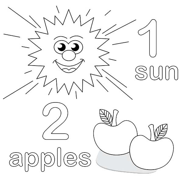 Number 2, : Learning Number 2 Coloring Page