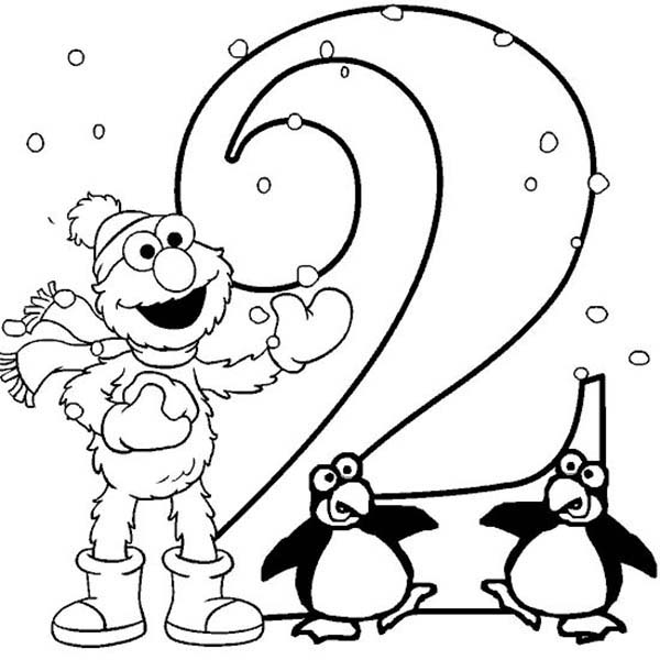 Number 2, : Learning Number 2 with Elmo Sesame Street Coloring Page