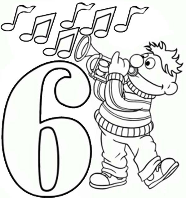 Number 6, : Learning Number 6 with Sesame Street Coloring Page