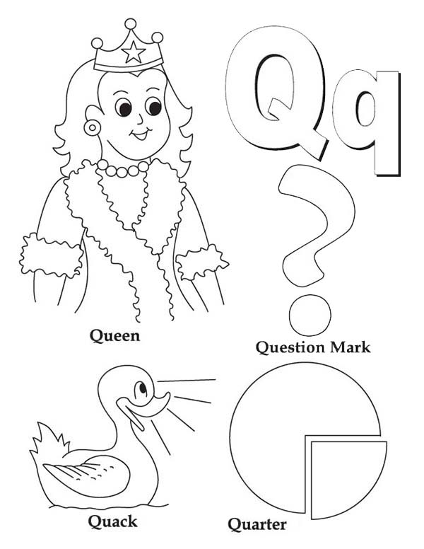 Letter Q, : Learning Preschool Kids Letter Q Coloring Page