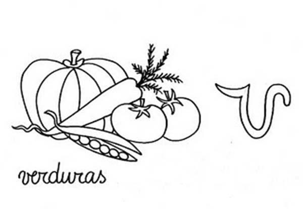Letter V, : Learning Small Letter V for Vegetables Coloring Page