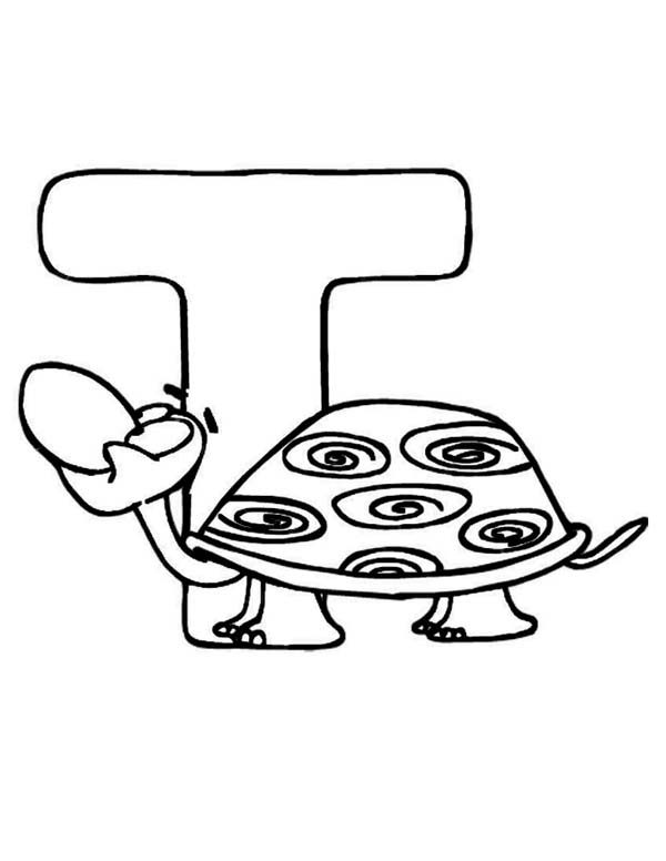 Letter T, : Learning Turtle is for Letter T Coloring Page Aninal Edition