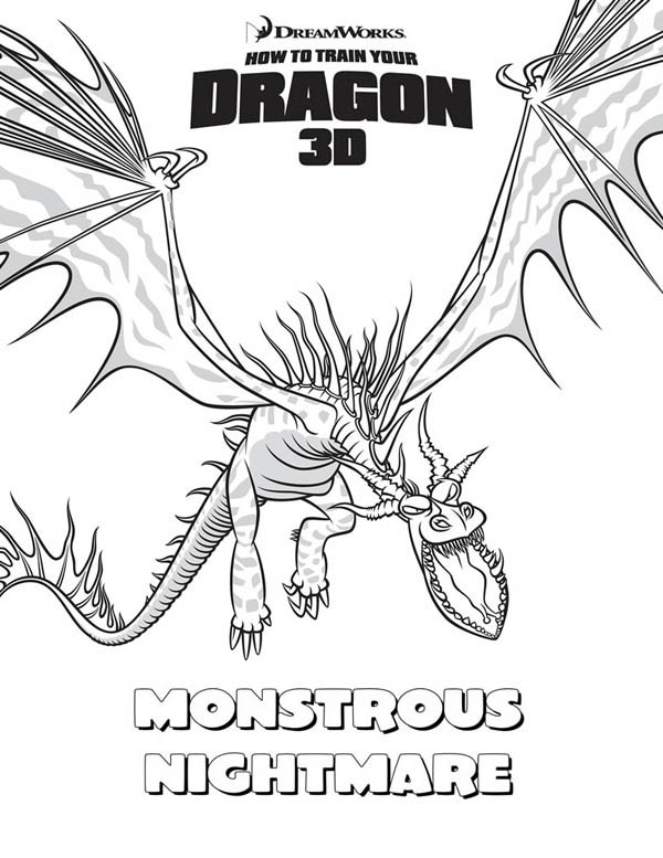 How to Train Your Dragon, : Legendary Monstrous Nightmare from How to Train Your Dragon Coloring Pages