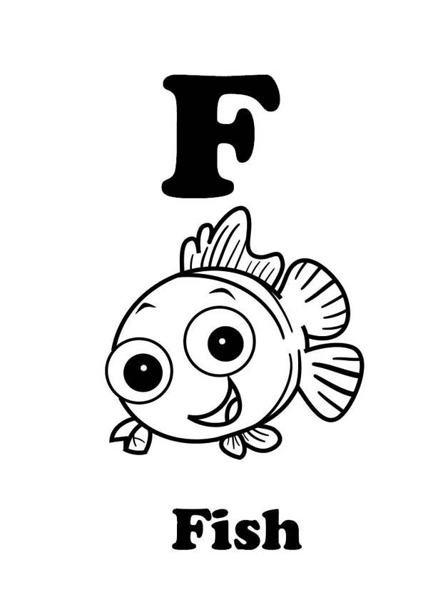 Letter F, : Letter F is for Fish Coloring Page