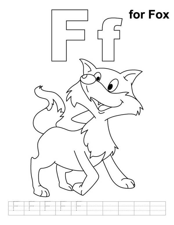 Letter F, : Letter F is for Fox Coloring Page