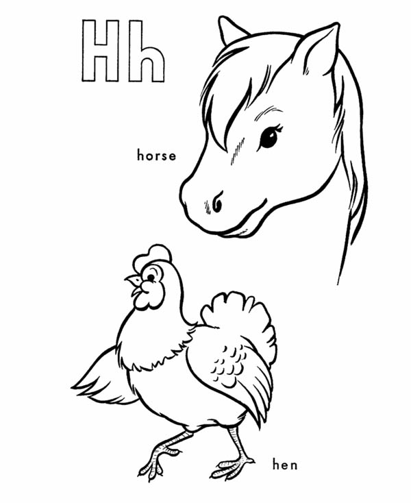 Letter H, : Letter H Coloring Page Animal Edition