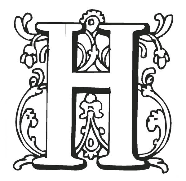 Letter H, : Letter H Coloring Page