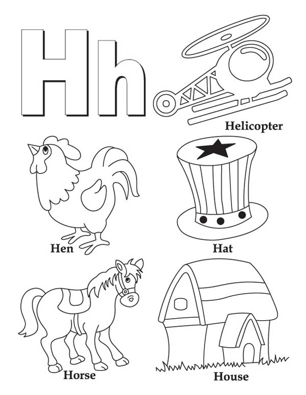 Letter H, : Letter H Words Coloring Page