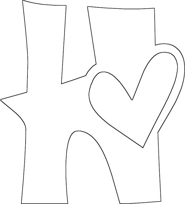 Letter H, : Letter H for Heart Coloring Page