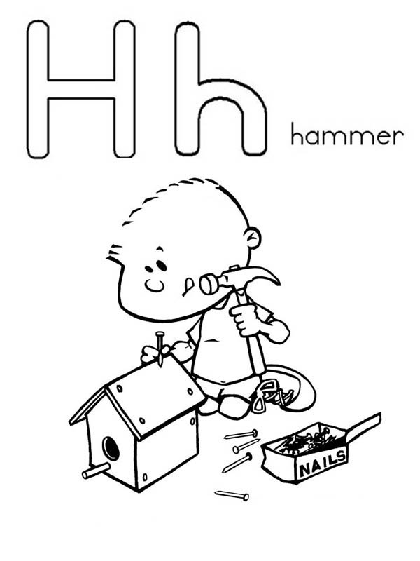 Letter H, : Letter H is for Hammer Coloring Page