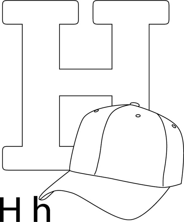 Letter H, : Letter H is for Hat Coloring Page