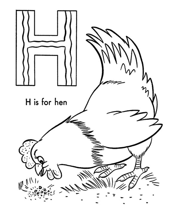 Letter H, : Letter H is for Hen Coloring Page